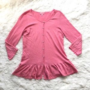 LILLY PULITZER PINK CARDI/SWEATER,PEARL BUTTON(L)
